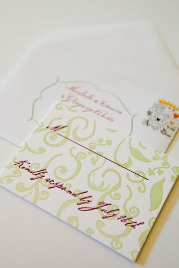 """Patterned response card for the """"Love Birds"""" suite."""