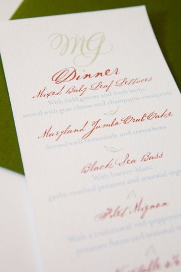 "Menu card matching the ""Love Birds"" invitation suite."