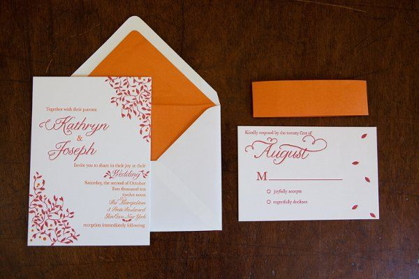 Fall Leaves Invitation suite including matching response card and complimenting orange band.