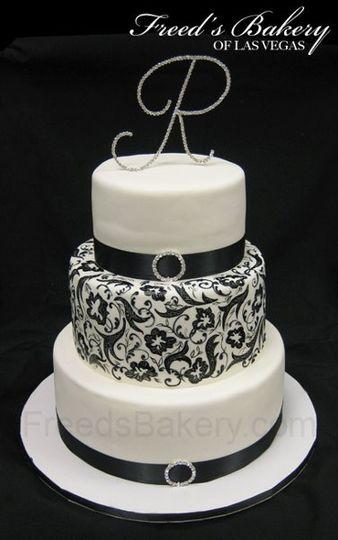 Rose Gold Wedding Cake White With Black Pattern
