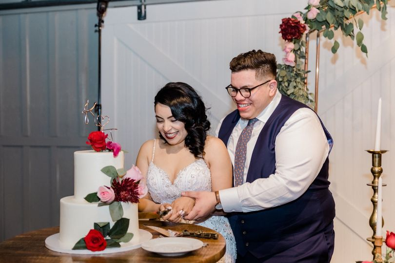 Cake cutting for Bride and Groom