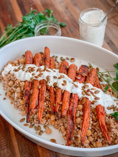 Perfectly presented carrots and farro
