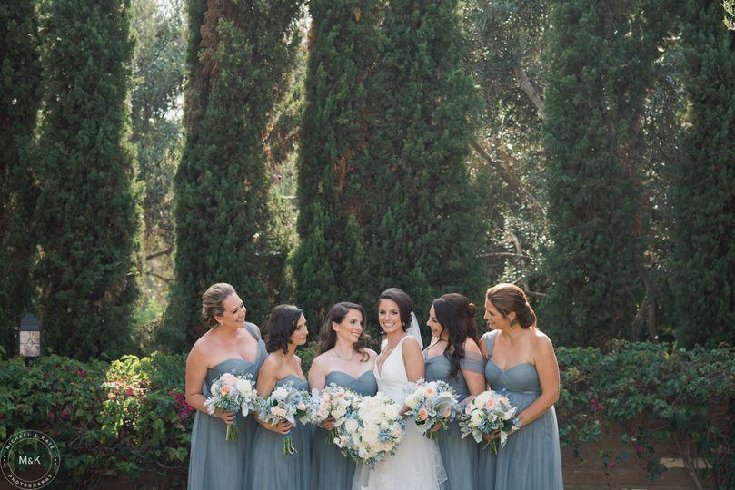 Bridal party before the wedding ceremony at Estancia Hotel & Spa in La Jolla