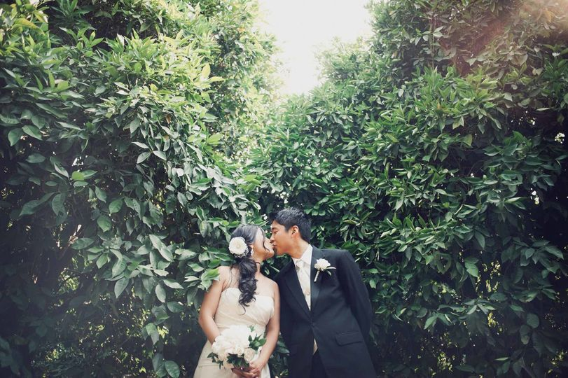 Bride and groom pose in a citrus farm