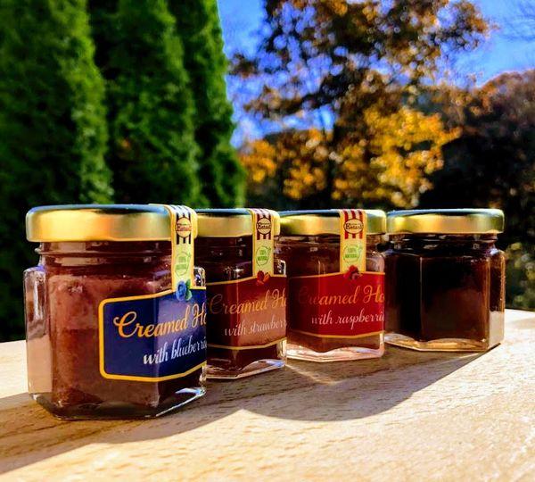 Creamed honey in 1. 5 oz jars