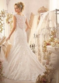 Wedding dress with mesh back