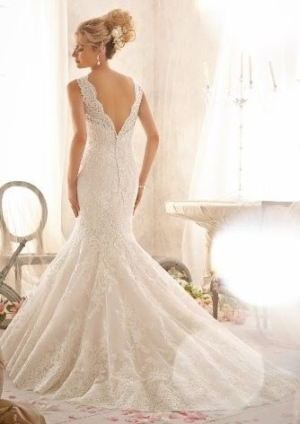 Wedding dress with deep v at the back