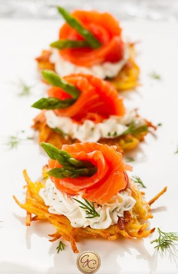 Gravlox on Potato Latke with Creme Fraiche