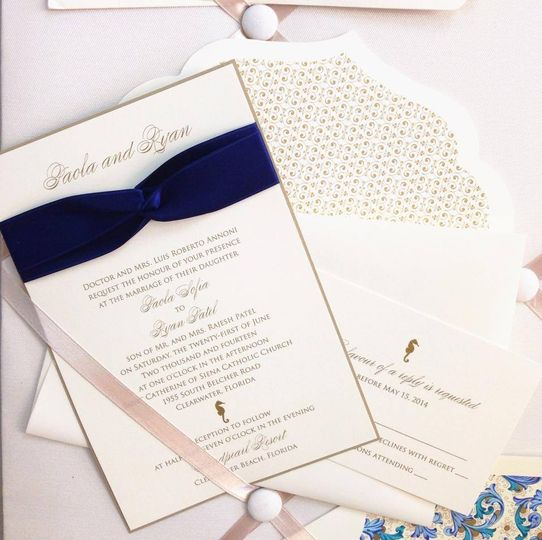 Wedding card with blue ribbon