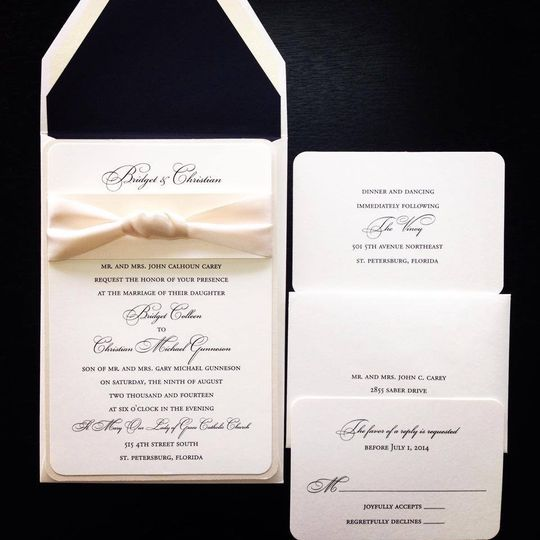 Simple white invitation with ribbon