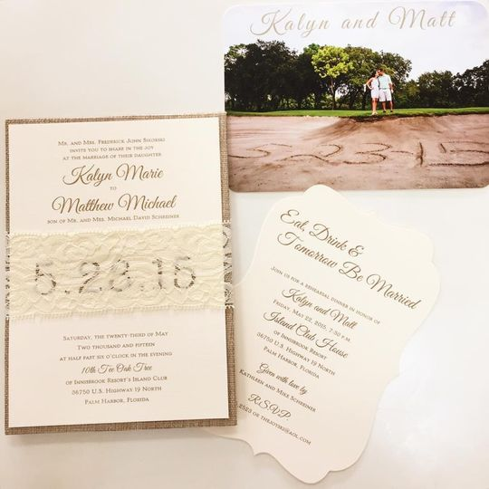 Wedding invitation with lace details