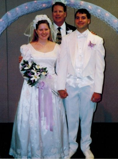 Newlyweds in all white