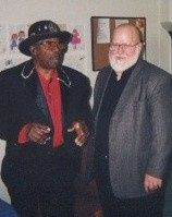 Jivin' Johnny Etheredge backstage with The Mighty Bo Diddley!