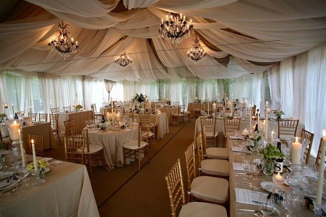 Glamorous tent set up for one of our larger weddings.