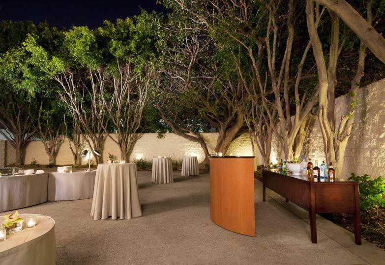 outdoor terrace reception setup