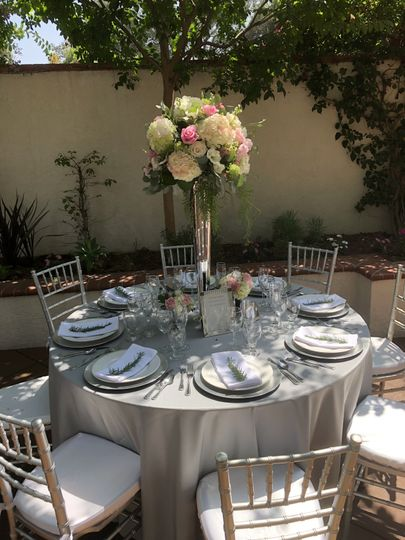 Silver tabletop in courtyard