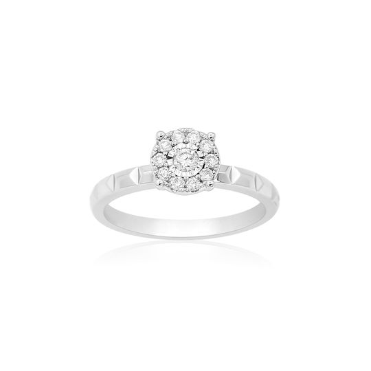 18K solitaire white gold ring