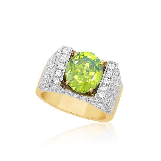 18K peridot with VS diamonds