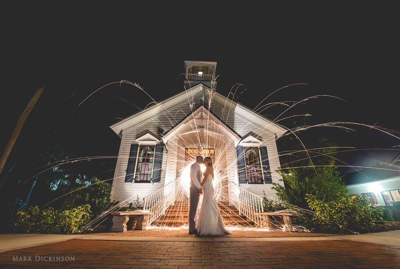 Chapel at night with sparklers