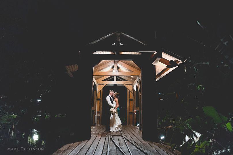 Nighttime bridge couple