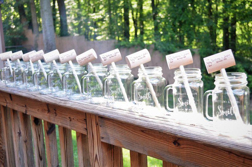Mason jars w/matching mallets