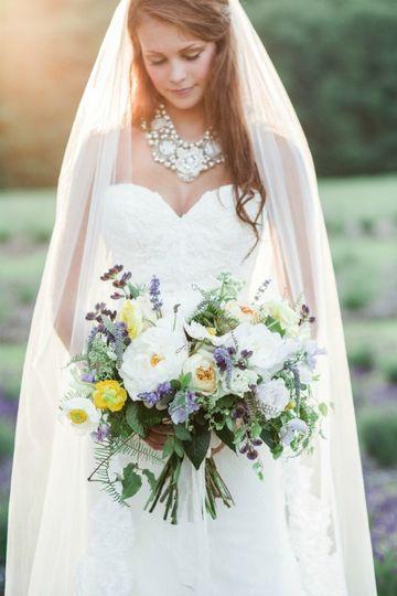 Natural style bride's bouquet with Lemon & Lavender theme.