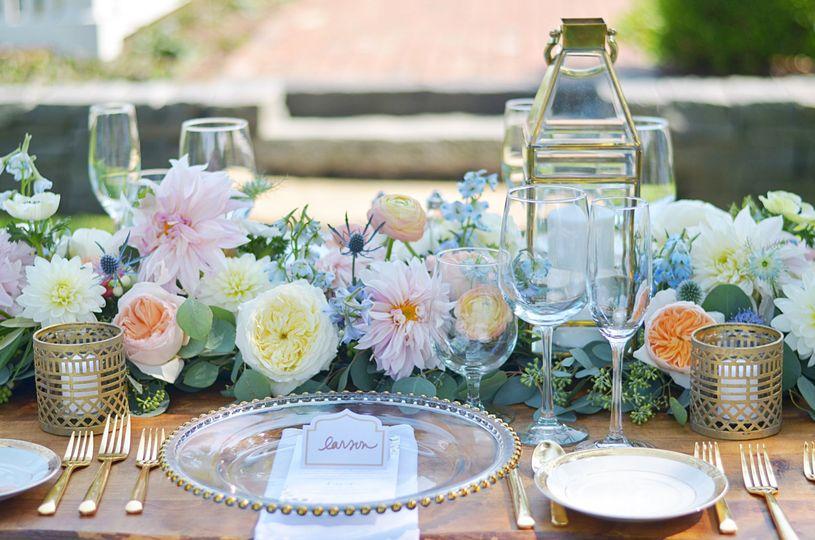Peach & Blue Centerpieces with Cafe au lait Dahlias, Garden roses, Ranunculus, Thistles, Eucalyptus,...