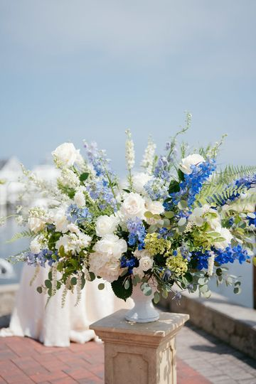 White and blue Ceremony flowers with Peonies, Roses, Hydrangeas, Delphiniums at Saybrook Point Inn...