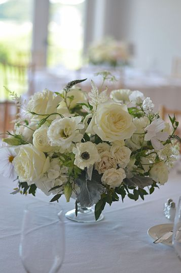 White Centerpieces with Roses, Anemones, Spray roses, Lysimachias, Lisianthus, Ranunculus, Dusty...