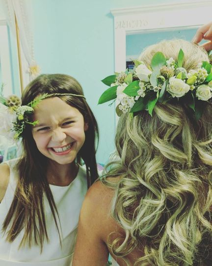 The Flower Girl and Bride get prepared in the newly renovated Bridal ready room.