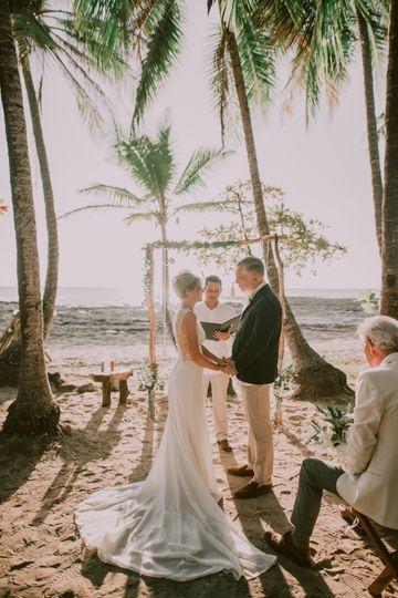 A sun-soaked beach ceremony