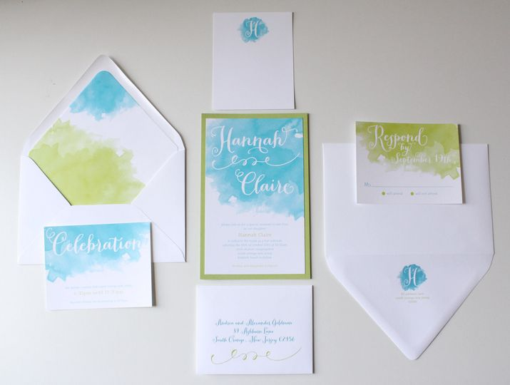 Watercolor painted invitation
