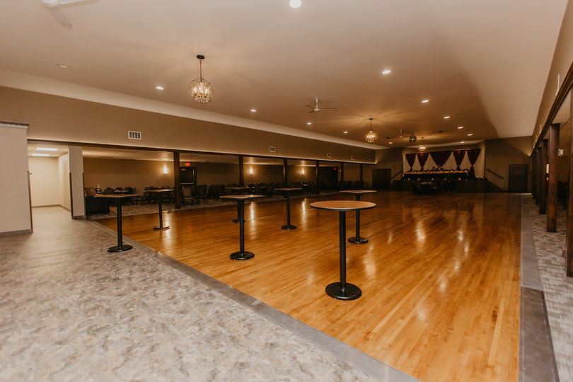 High-top tables in the ballroom