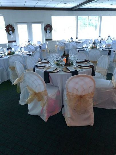 The Terrace Room set up for a wedding