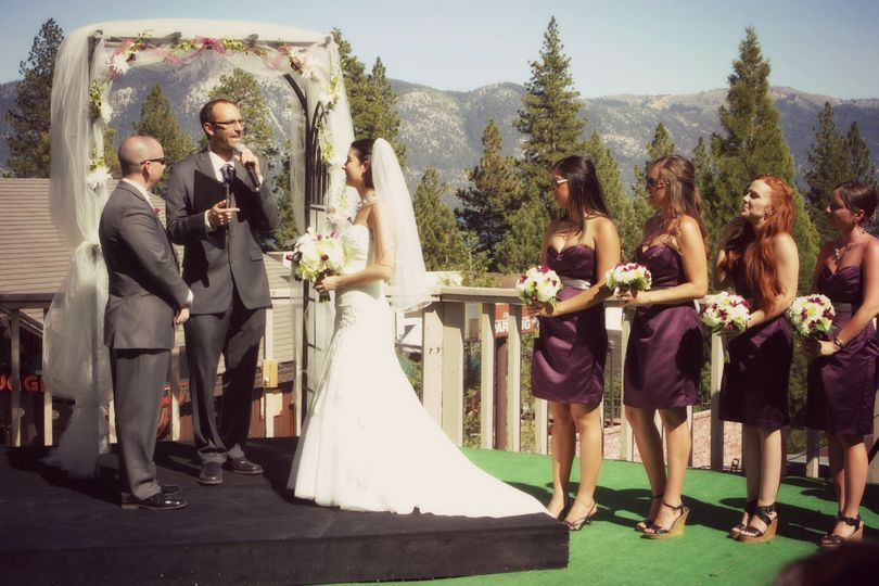 Real wedding on our 3rd floor balcony with some beautiful mountain views. Photo Credit, Danielle...