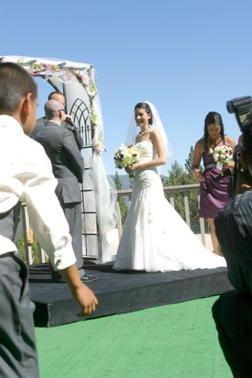 Real happy bride during her wedding at the Tahoe Biltmore :) Photo Credit, Danielle Pearson.
