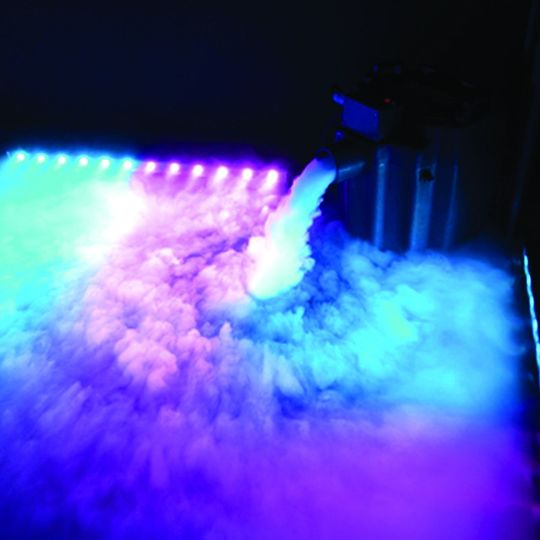 Our cloud machine and our moving LED lights.