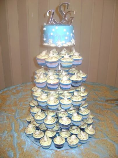 Cupcakes with buttercream icing and candy seashells.