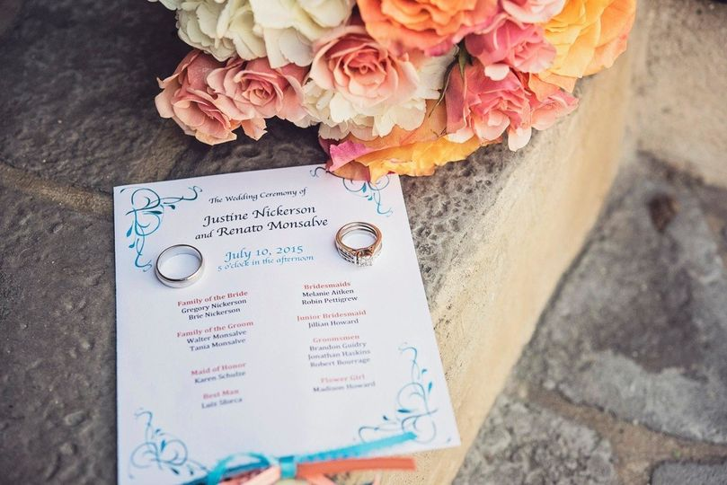 Couple's ring and wedding invitation