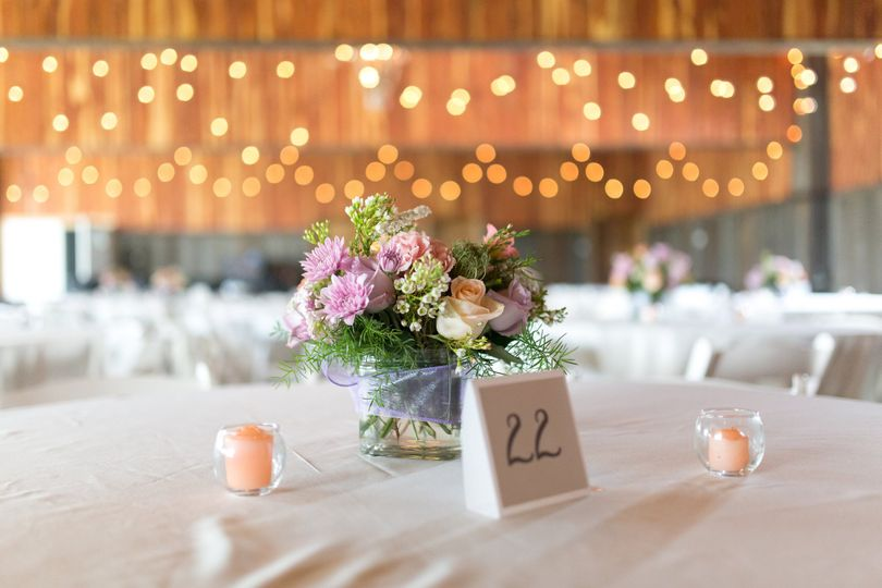 Simple table setup with centerpiece