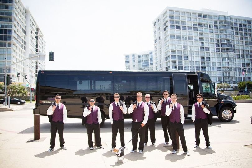 Wedding Grooms traveling in Top Dog Limo Bus, San Diego Party Bus!