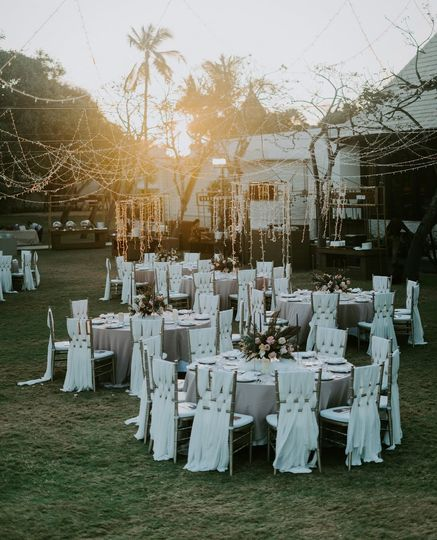 Outdoor reception at sunset