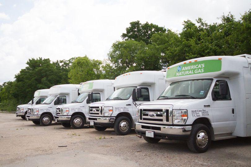 Fleet of white passenger buses