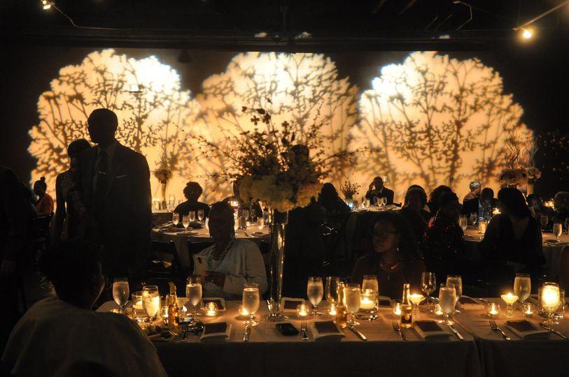 Reception lighting and decor
