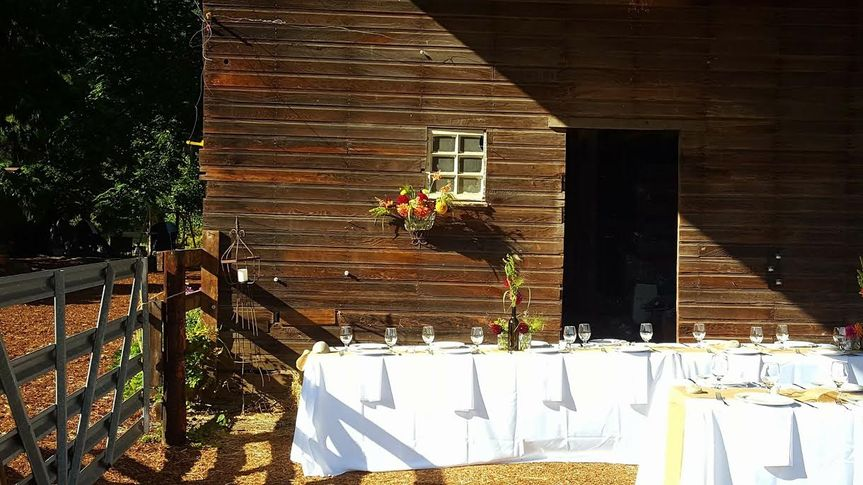 Dining area under barn awning