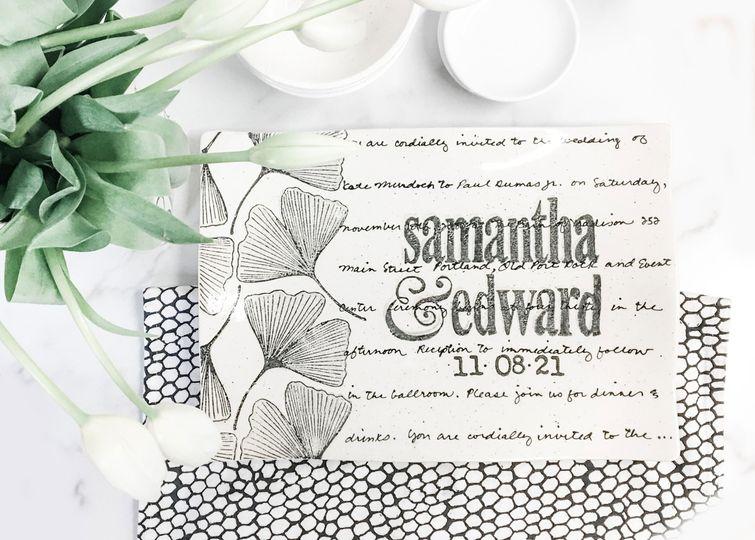 Ginkgo wedding invitation gift
