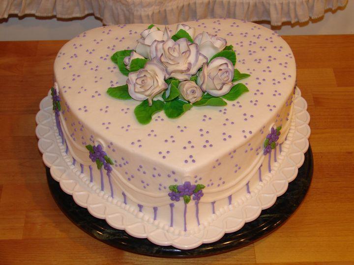 2e80ac124b6821a6 50th Anniversary Cake Blossoms in Purple Deb Murray 4 20 13