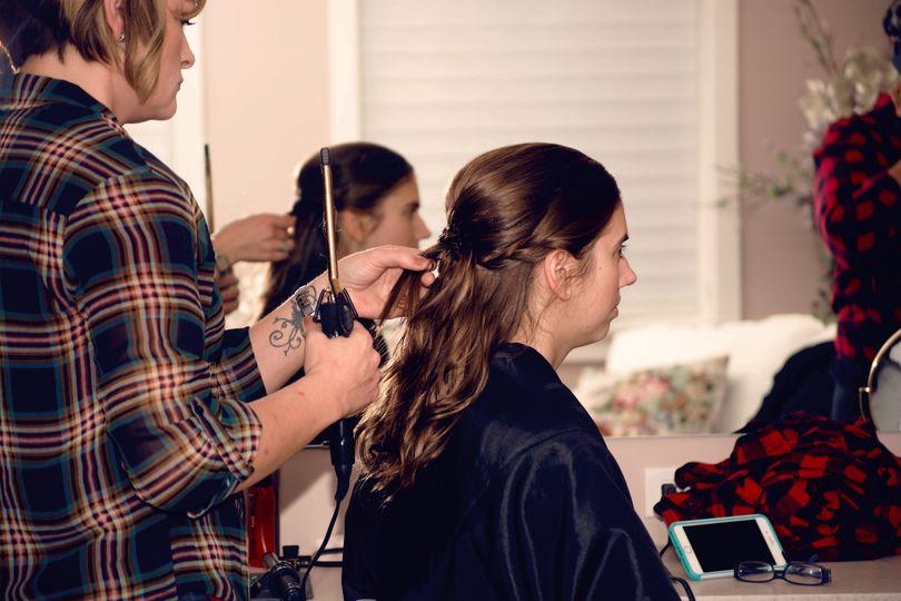 Bridesmaid getting hair done