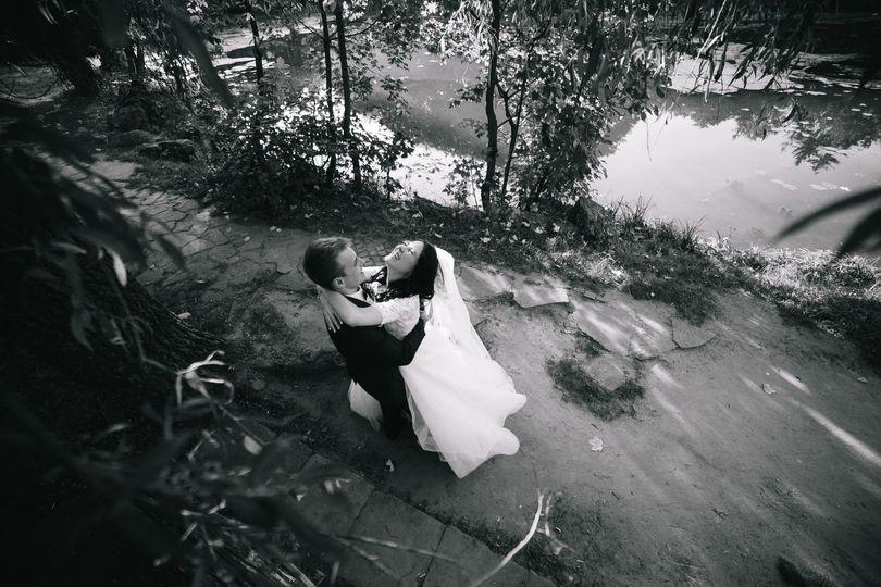 Couple on the lake hugging