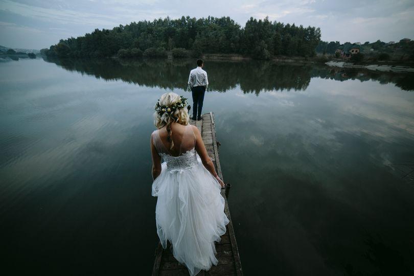 Old wooden peer wedding